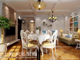 圆形实木餐桌,象征着家庭的团圆,白色的桌布和含苞待放的鲜花,让生活更加的有情趣。,90平,6万,地中海,两居,餐厅,白色,