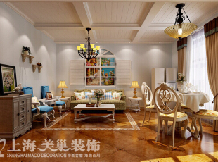 沙发背景墙通过假窗的手法处理墙面,使整个空间生动有生机,显得更加的自然,仿佛就如面朝大海,春暖花开,90平,6万,地中海,两居,客厅,春色,