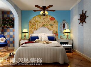 温馨的卧室,蓝色的大背景,安静自然,让人更容易进入甜美的梦乡。,90平,6万,地中海,两居,卧室,蓝色,