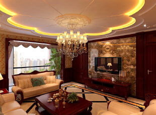 ,150平,30万,欧式,大户型,客厅,原木色,