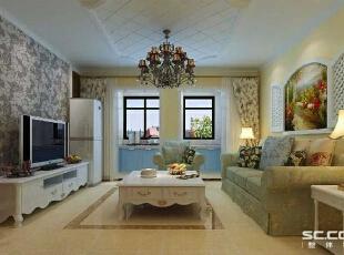 繁复雕饰经过简化,并与现代的材质相结合,呈现出古典而简约的新风貌。,95平,8万,田园,两居,客厅,春色,