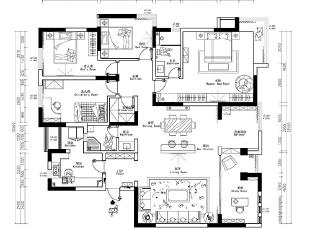 郑州鑫苑世家180平四室两厅简欧风格装修户型图,180平,12万,欧式,四居,