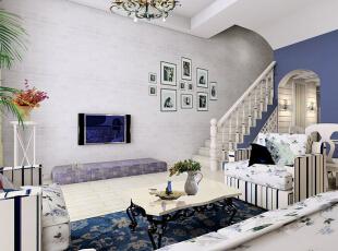 ,150平,6万,地中海,三居,客厅,紫色,