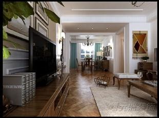 ,160平,12万,美式,三居,客厅,原木色,