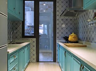 ,150平,混搭,四居,原木色,厨房,黄色,蓝色,绿色,