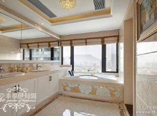 半开放式的主卧洗手间,同样采用了马赛克的搭配,与整体色系相融合。放松身心的桑拿房,敢说这还不是另一个享受的境界?,220平,100万,欧式,复式,