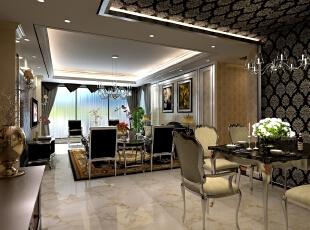 ,124平,25万,新古典,三居,餐厅,白色,