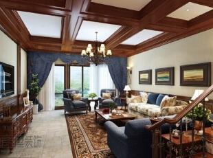 ,500平,56万,别墅,美式,客厅,原木色,