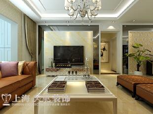 黄金海岸简欧139平三室两厅装修效果图案例——客厅电视背景墙,139平,12万,欧式,三居,