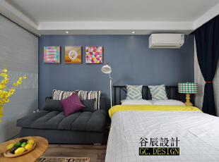,37平,12万,现代,一居,客厅,卧室,简约,宜家,小资,黄色,蓝色,原木色,白色,