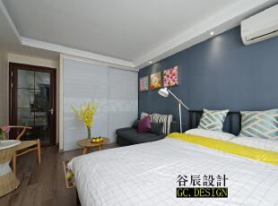,37平,12万,现代,一居,蓝色,黄色,原木色,白色,简约,宜家,美式,卧室,客厅,