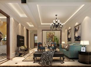 空间的层次感,色彩的冷暖对比,软装和硬装,关系很明确,对比很强烈,在视觉上面让人应接不暇。,270平,35万,欧式,三居,客厅,黄色,