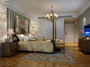主卧整体色系为蓝色与白色搭配,床头背景以白色墙板与墙纸结合的形式,从睡房到衣帽间同样设计了拱门的造型与客厅进行呼应。,168平,15万,小资,四居,
