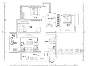 金域上郡装修三室两厅135平案例户型图,简约,