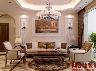 ,110平,12万,三居,欧式,客厅,白色,