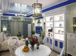 ,120平,12万,地中海,三居,餐厅,白蓝,
