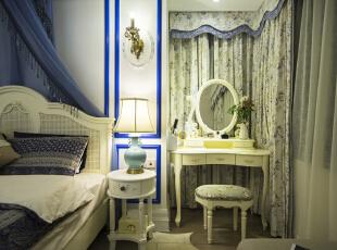,120平,12万,地中海,三居,卧室,白蓝,