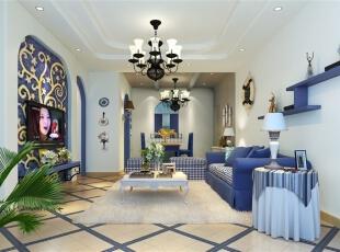 客厅餐厅,90.0平,9.0万,两居,地中海,蓝色,