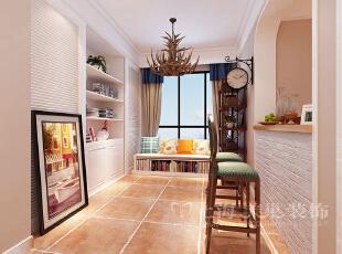 锦艺轻纺城87平简美风格三室两厅装修方案——吧台装修效果图,87平,6万,三居,美式,餐厅,白色,
