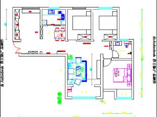 郑州锦艺轻纺城87平简美风格三室两厅装修户型图,87平,6万,美式,三居,