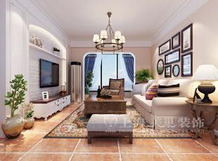 ,87平,6万,美式,三居,客厅,白色,