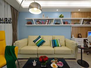 ,100平,18万,简约,两居,客厅,白蓝,
