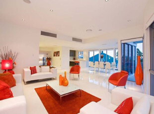 ,85平,7万,田园,两居,客厅,白色,橙色,