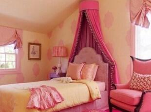 ,85平,7万,田园,两居,卧室,粉红色,