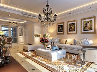 方圆经纬166平四室两厅简欧风格装修效果图——客厅装修效果图,166平,7万,现代,一居,客厅,黄白,