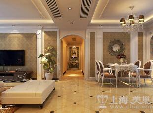 方圆经纬166平4室2厅简欧风格装修样板间——客餐厅装修效果图,166平,7万,现代,一居,餐厅,黄白,