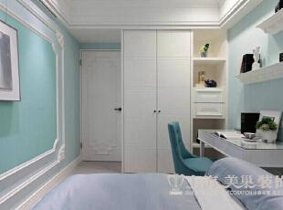 方圆经纬166平四室两厅简欧风格装修案例——卧室装修效果图,166平,7万,现代,一居,卧室,白蓝,