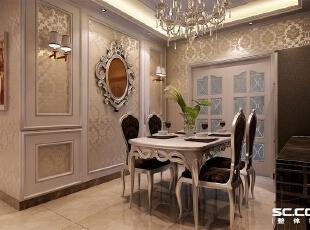 餐厅背景处用壁纸和石膏板做框,混油工艺造型,装饰镜起到修饰作用,吊顶用轻钢龙骨和石膏板做造型,石膏线压边,线条感丰富,140平,9万,欧式,三居,餐厅,银黄色,