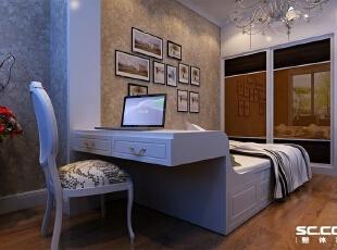 这个为女儿的卧室,飘窗处利用做了书桌,整个房间动静分区,给小朋友留有玩耍的空间,140平,9万,欧式,三居,卧室,白色,