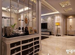 此为入户鞋柜,上为造型磨边玻璃,时尚感比较强,下为造型鞋柜,较为实用,140平,9万,欧式,三居,客厅,银黄色,