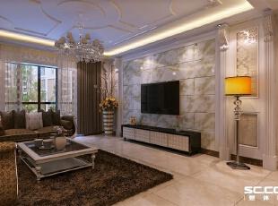 电视背景墙用石材上墙,两侧用罗马线条和壁纸做装饰,整体看下来比较大气,比较符合业主的气质。吊顶在正常的灯带上增加一圈太阳线造型,整体搭配高雅华丽,140平,9万,欧式,三居,客厅,银黄色,