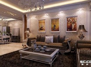 沙发背景墙处用壁纸和罗马线条做造型,壁纸的颜色选用银黄色暗印花,富丽又富有内涵,沙发颜色选用深色,家具款式为古典欧式,140平,9万,欧式,三居,客厅,银黄色,