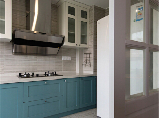 ,190平,45万,美式,四居,厨房,白蓝,