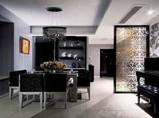 北京别墅装修设计——餐厅 浅暖色的地砖 深色的家具做为搭配 最为精致的是隔断的雕刻 显得有档次 高贵 简单的布置,327平,66万,简约,四居,餐厅,黑白,黄色,