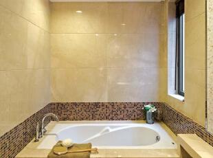北京别墅装修设计——卫生间 暖色调的瓷砖 添加一点马赛克做为点缀,378平,60万,现代,别墅,卫生间,黄色,黑白,