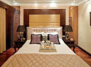北京别墅装修设计——主卧 简单 大方 卧室本是一个舒适休息的地方 奢华 大气,378平,60万,现代,别墅,卧室,黄色,黑白,红色,