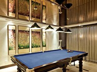 北京别墅装修设计——台球厅 简单的休闲厅 主要是以暖色的地砖,378平,60万,现代,别墅,蓝色,黄色,绿色,黑白,