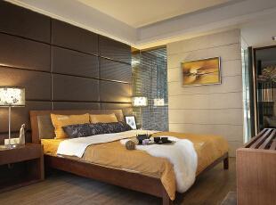 卧室:简单舒适的卧室,可以让业主放下一天的疲惫,简单的床柱让业主更有安全感,186平,15万,中式,四居,卧室,黑白,