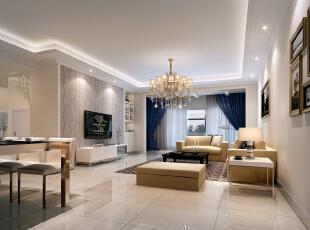 ,107平,7万,现代,三居,客厅,白色,