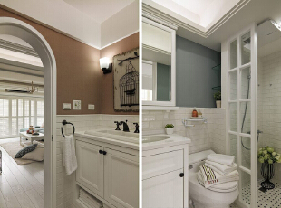 卫生间的装修很欧式,有没有看到洗漱台上的笼中鸟壁画呢?是不是很可爱。,120平,14万,地中海,三居,卫生间,白色,