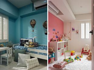 左边的自然是孩子的儿童房唠,右边多半是孩子玩耍以及学习的空间吧。,120平,14万,地中海,三居,儿童房,蓝色,粉红色,