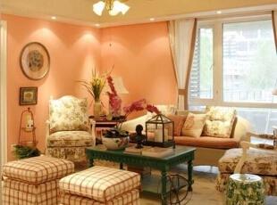 ,105平,9万,田园,三居,客厅,粉红色,
