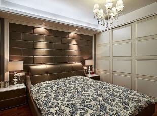 ,135平,10万,简约,三居,卧室,咖啡色,白色,