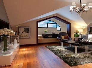 客厅设计: 电视背景墙墙纸和其他空间拼色,充满北欧风情的栖身之地也显得弥漫着独特魅力。,150平,13万,欧式,四居,