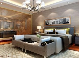 卧室设计: 北欧风格是很多人喜欢的装修风格。由白色与暖色家具打造的卧室,是典型的北欧式简洁风格。尤其把原有卫生间墙体拆除改为玻璃隔墙作为卧室的亮点,,空间更加明亮开阔。,150平,13万,欧式,四居,