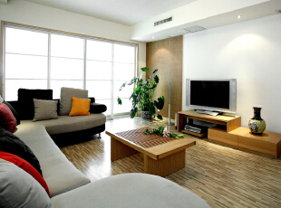 简洁但不显简单电视墙。,120平,14万,简约,两居,客厅,春色,